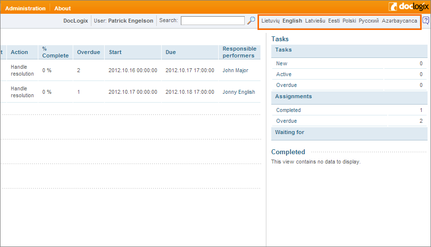 Multilingual user interface in DocLogix